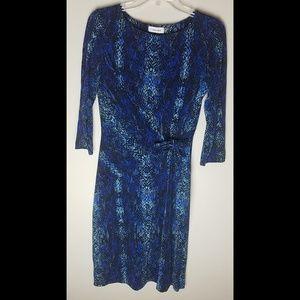 Calvin Klein size 6 blue snake skin print dress